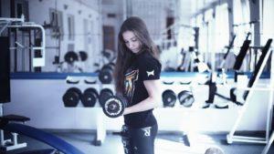 Fille Dans La Salle De Gym, Entraîneur, Kick-Boxing